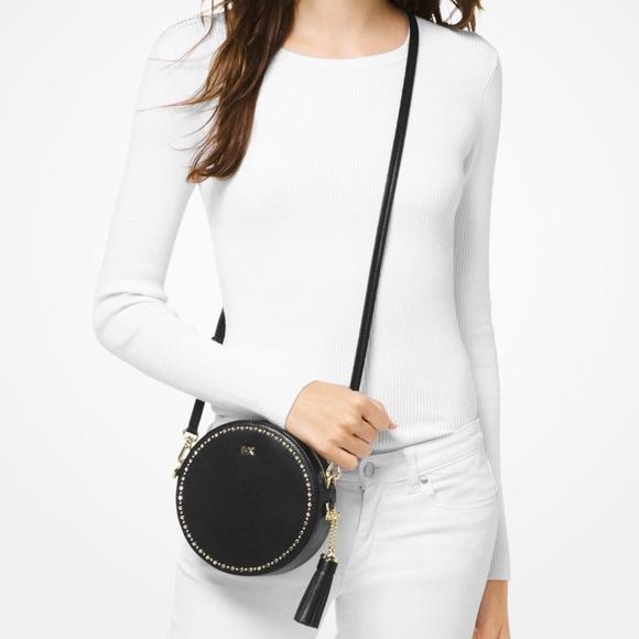 7eab71b70bb1 Michael Kors Bags   Black Studded Leather Canteen Bag   Poshmark